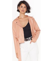womens love leather felt so good faux leather jacket - nude