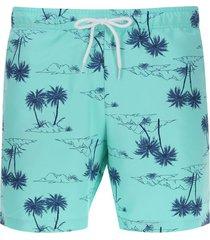 pantalóneta de baño palmeras color azul, talla s