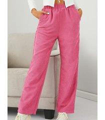 cinturilla elástica de pana rosa pantalones