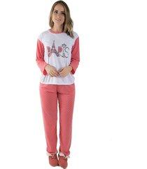 pijama linha noite longo salmão