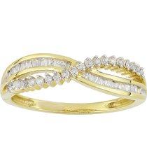 14k yellow gold fn baguette & round shape sim. diamond criss cross ring
