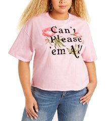 mighty fine trendy plus size cotton can't please 'em all cropped graphic t-shirt