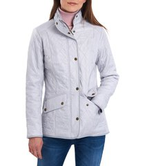 barbour cavalry fleece lined quilted jacket, size 4 us in ice white/silver ice at nordstrom
