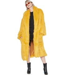 płaszcz fake fur yellow