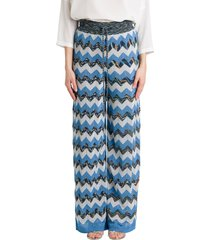 wave lurex wide trousers
