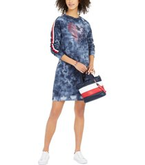 tommy hilfiger french terry tie-dye sweatshirt dress