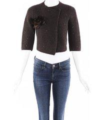 brunello cucinelli sequin cashmere silk knit cardigan brown sz: xs