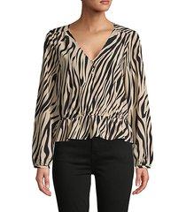 wild-print ruffle blouse