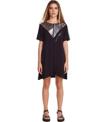 t-shirt zinco decote redondo alongada preto - preto - feminino - dafiti