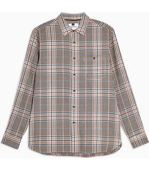 mens stone and pink houndstooth slim shirt