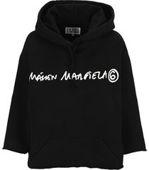 mm6 cropped logo-print hoodie by mm6.