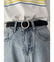 o-ring buckle faux leather waist belt