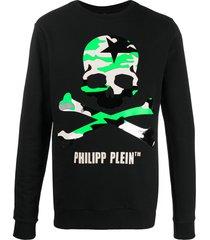 philipp plein camouflage skull print sweatshirt - black