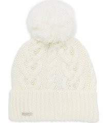 cable knit & faux pearl beanie