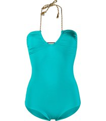 forte forte fitted halterneck bodysuit - blue