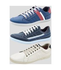 sapatênis kit 3 pares dexshoes casual azul/marinho/branco