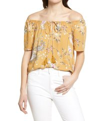 bobeau off the shoulder peasant top, size small in mustard paisley at nordstrom