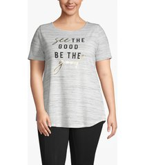lane bryant women's active twist-back see the good graphic top 26/28 gray