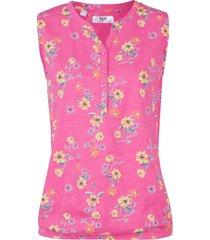 top in jersey a fiori con elastico al fondo (fucsia) - bpc bonprix collection