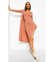 strappy midi dress and longline duster coord, cashew