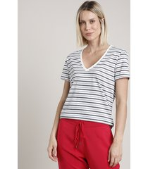 blusa feminina básica listrada manga curta decote v cinza