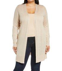 plus size women's halogen long cardigan, size 3x - brown