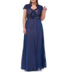 plus size women's js collections lace split neck gown, size 16w - blue