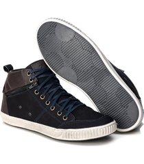 sapatenis cano alto couro tchwm shoes masculino moderno azul - kanui