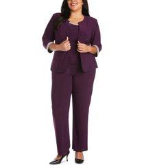 r & m richards plus size rhinestone-trim jacket, top & pants set