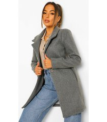 petite button front wool look coat, grey