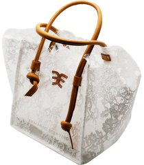 ermanno scervino shoppin lace bag with leather handles and internal clutch bag measures 32 x 20 x 25