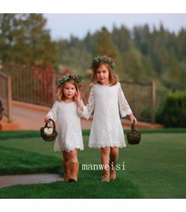 new white knee length flower girl dress bridesmaid lace long sleeve gowns
