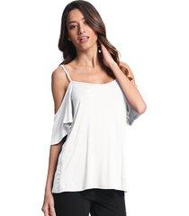 zanzea mujer camisas de corte bajo del hombro del volante de la manga de la honda de oscilación tops sólido ocasional blusones camisetas blanca -blanco