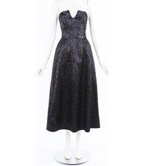 roland mouret aldrich black metallic strapless dress black/metallic sz: l