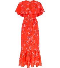 borgo de nor margarita crepe floral print cape detail dress - red