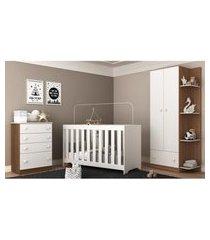 quarto infantil completo roupeiro + cômoda + berço 3 em 1 doce sonho multimóveis