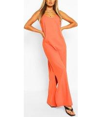 maxi jurk met laag uitgesneden rug en bandjes, oranje
