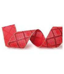 fita para laço decoraçáo natalina losangos de cor vermelho