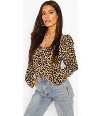 leopard print square neck puff sleeve top, brown