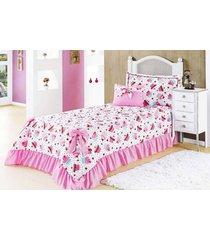 colcha / cobre leito rosa cupcake cama solteiro composto por 04 peã§as - cobreleito laila - aquarela - rosa - dafiti