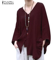 zanzea botones de manga murciélago para mujer cuello en v camisa informal tops cascada blusa étnica -rojo