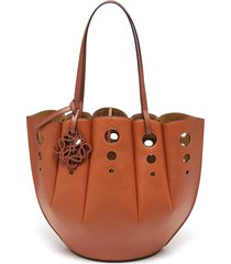 'shell' scallop hem small leather tote