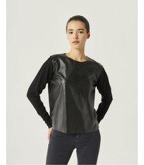 sweaters negro portsaid efecto cuero cerati