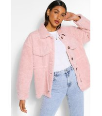 faux fur teddy tussenjas, blush