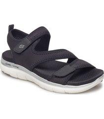 womens flex appeal 2.0 shoes summer shoes flat sandals svart skechers
