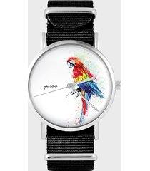 zegarek - czerwona papuga - czarny, nylon