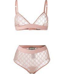 gucci gg embroidered lingerie set - pink