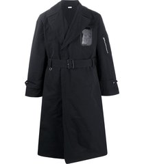 random identities fitted belted trench coat - black