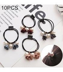 10 pcs perla estilo de la flor de goma elastica banda de pelo anillo color al azar entrega