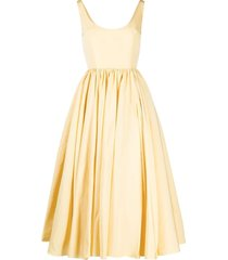 alexander mcqueen bow detail flared cocktail dress - yellow